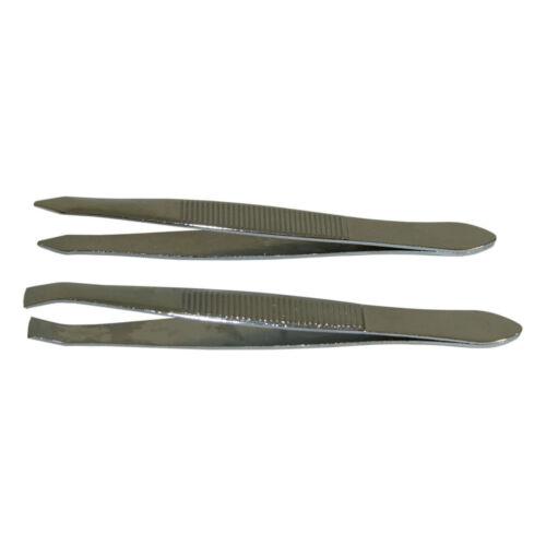 2er Set Metall-Pinzetten 8 cm spitz und gerade