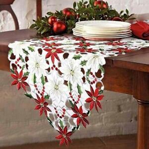 Weihnachten-Bestickte-Tischlaeufer-Leaf-Tischwaesche-Home-Decoration-38-x-175cm