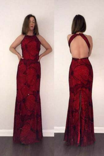 GORGEOUS Vtg 80s 90s BEADED Red Floral Cut Out Mer