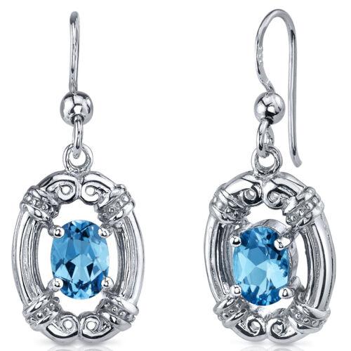 2 CT Oval Blue Swiss Blue Topaz Sterling Silver Dangling Earrings