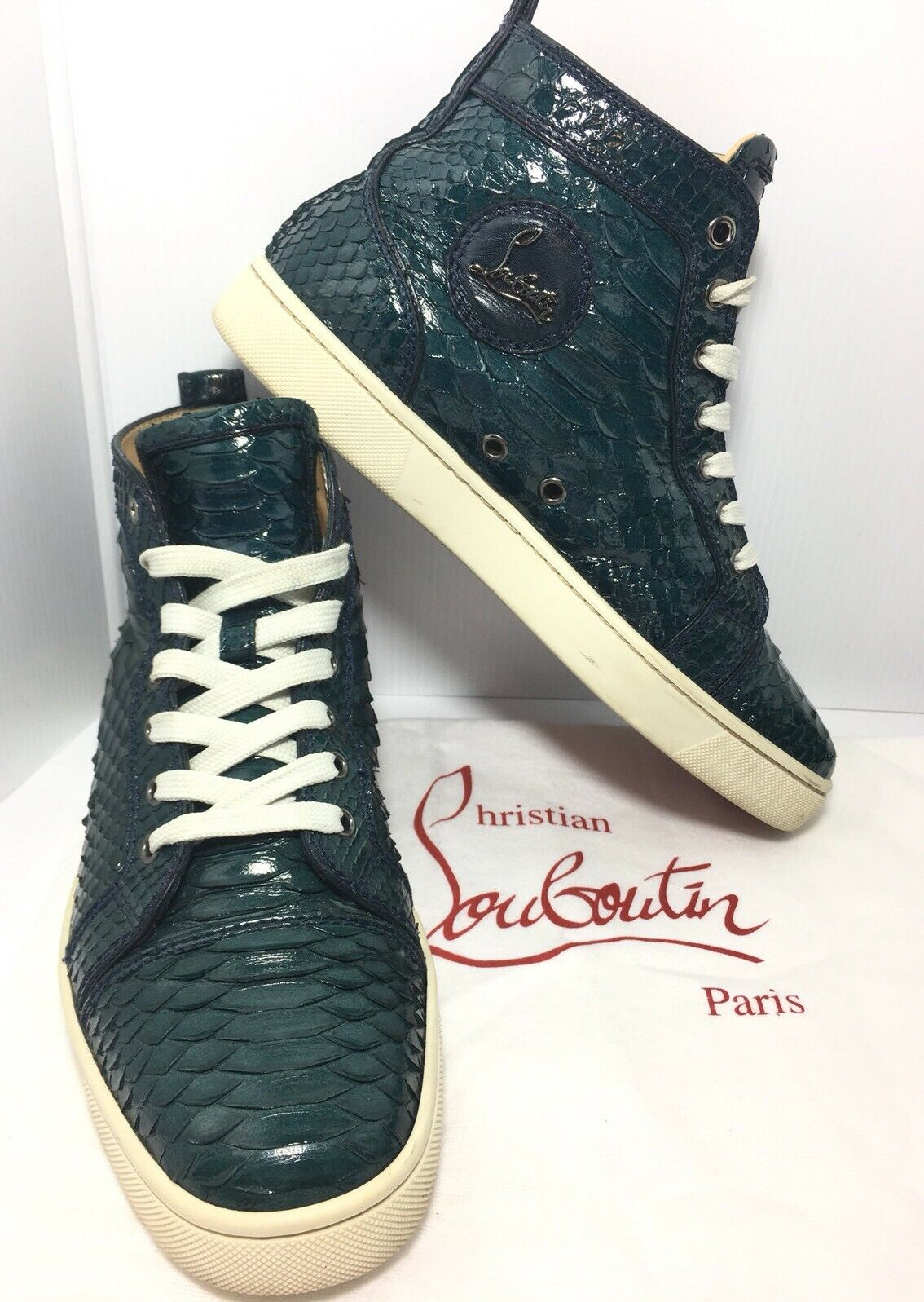 Authentic Christian Louboutin High Top Louis Flat Python Crystal Size 39.5