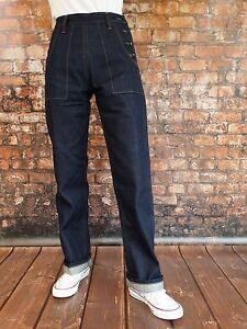 Marlene Vintage Denim Jeans Wac Années 30er-40er Style Rockabilly Hot Rod V8 Army-afficher Le Titre D'origine