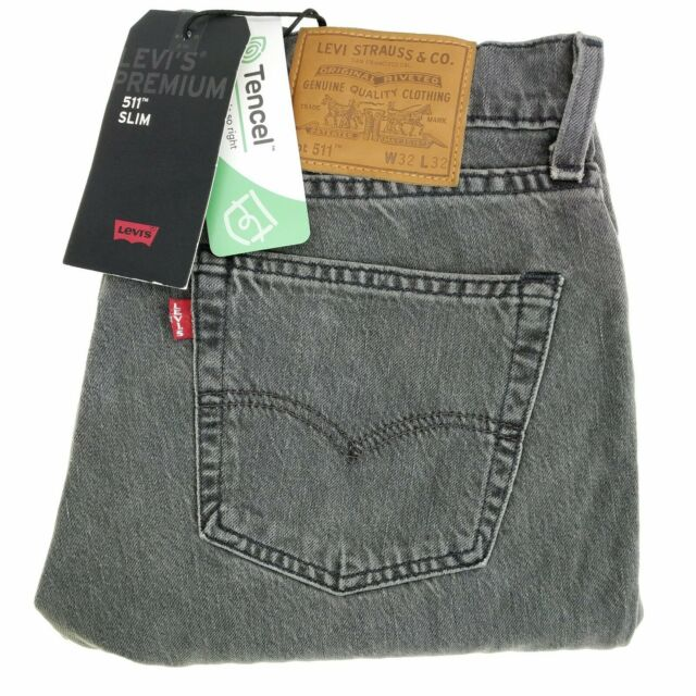 Levi's 511 Jean Men Gray Stretch Denim Slim Fit Premium Tencel Distressed $98.00