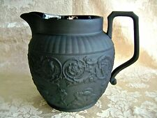 "LARGE ANTIQUE WEDGWOOD BLACK BASALT JASPERWARE 5 3/4"" PITCHER"