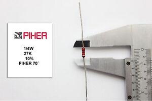 Stable Vintage Piher Resistor. 1/4w 27k 10% *3 Pc* New Original 1970´s + F130619 Ventes Bon Marché