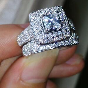 image is loading 134pcs topaz diamonique lovers 14kt white gold filled - Diamonique Wedding Rings