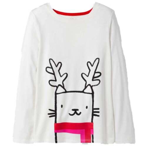 Girls White Reindeer Cat Holiday Shirt Long Sleeve Christmas T-Shirt
