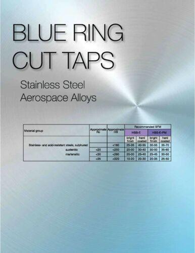TiN Coated Blue Ring Tap PM-Cobalt 10-32 ANSI CNC 3 Flute Spiral Point Plug
