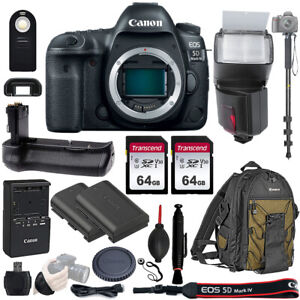 Canon EOS 5D Mark IV Full Frame Digital SLR Camera Body W Battery Grip 128GB Kit