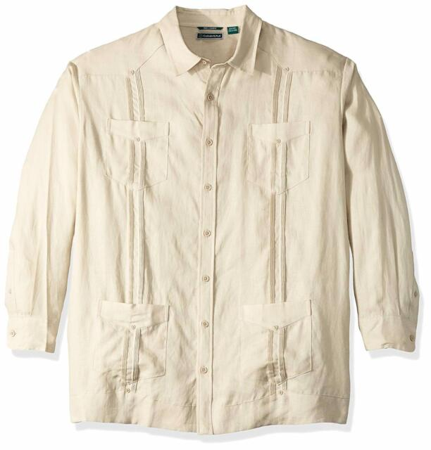 2c261c1b89d NEW Cubavera Men s Long Sleeve 100% Linen Cuban Guayabera Shirt 2X Big Beige