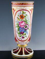 BEAUTFUL ANTIQUE MOSER BOHEMIAN FLORAL ENAMEL CRANBERRY CUT CASED ART GLASS VASE