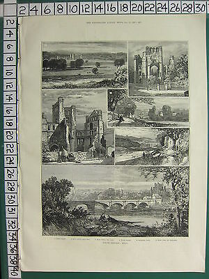 1887 Print ~ Border Sketches Kelso Fleurs Kelso Abbey Roxburgh Castle Art