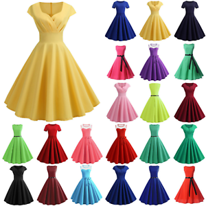 Plain Womens Retro Rockabilly Dress Casual Evening Party Swing Dresses Gown US
