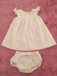 aab5d419a Nordstrom Baby Girl 6 Months White Eyelet dress W bloomers NWOT | eBay