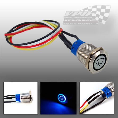 PANNELLO pulsante interruttore della luce on//off 12V LED Push COLORE LED BLU 23cm FILO