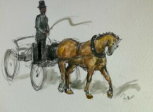 Original-ink-amp-watercolour-paintings-Coach-amp-horse-impressionism-equestrian-art