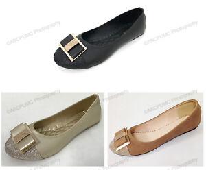 Women-039-s-Ballet-Flats-Fashion-Slip-On-Bow-Rhinestone-Casual-Comfort-Shoes-Sizes