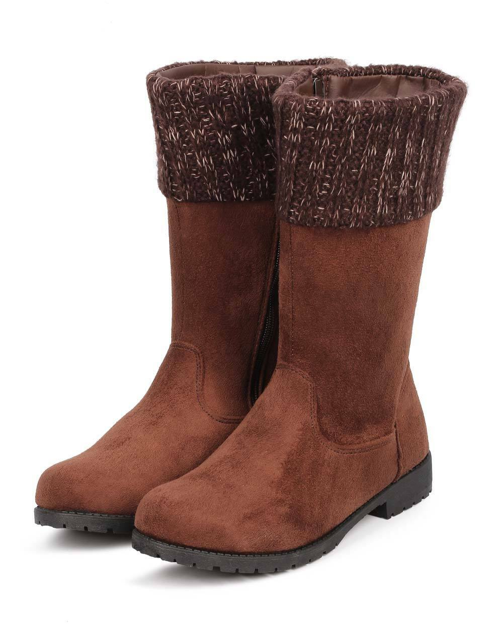 New Women Bumper Evelyn-09 Suede Sweater Cuff Round Toe Tailored Riding Boot Sz