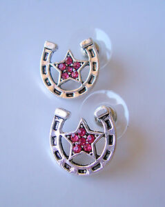 LUCKY-HORSESHOE-RHINESTONE-STAR-STUD-EARRINGS-in-Green-GOLD-Red-SILVER-NEW