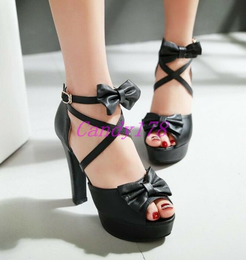 Chic Womens Peep Toe Sandals Platform High heels Dress Shoes Bowtie Strap Cross Shoes Dress b0a7c0