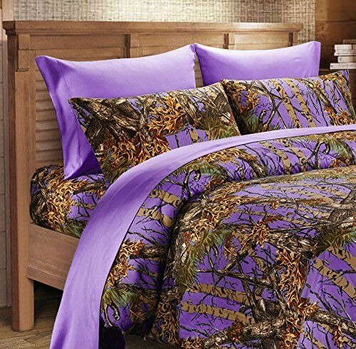 7 PC lila Camo Queen Größe Comforter sheets and pillowcase set