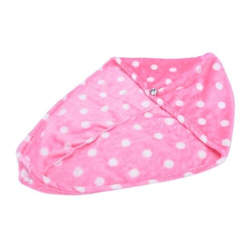 1X Lady Hair Wrap Head Towel Turbie Turban Twist Drying Cap Loop Button Hat TECA