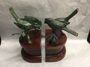 Bird on Branch Bronze Bookends Set