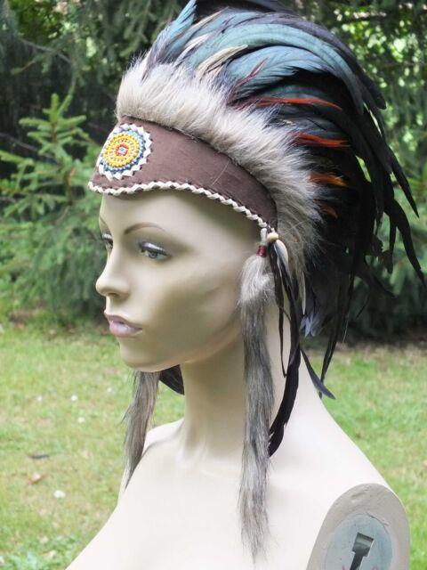 indianer,stirnband,federband,schwarze federn,federhaube,warbonnet,unisize,haube