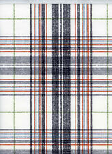ONE DOUBLE ROLL -  Black Grey Red Blue Green White Designer Plaid Wallpaper Diy