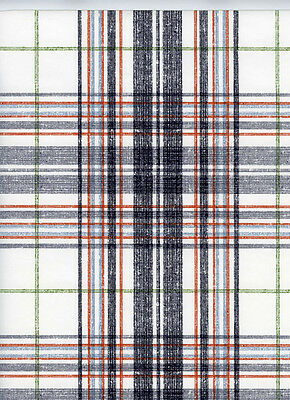 ONE DOUBLE ROLL -  Black Grey Red Blue Green White Designer Plaid Wallpaper Diy