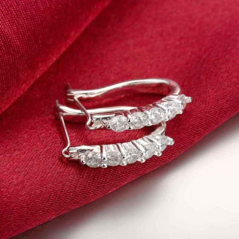 Ladies 295 Sterling Silver Plated Cubic Zirconia Cz U-shape Huggie Earrings Gift