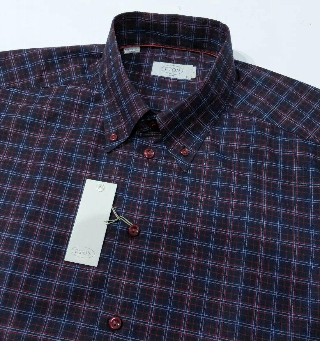 Eton herren hemd Slim Fit Tattersall Check Oxford Größe 16 - 41cm , L New