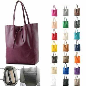 dbe8fa4c06a53 Das Bild wird geladen ital-Ledertasche-Damentasche-Shopper-Gross-DIN-A4- Schultertasche-