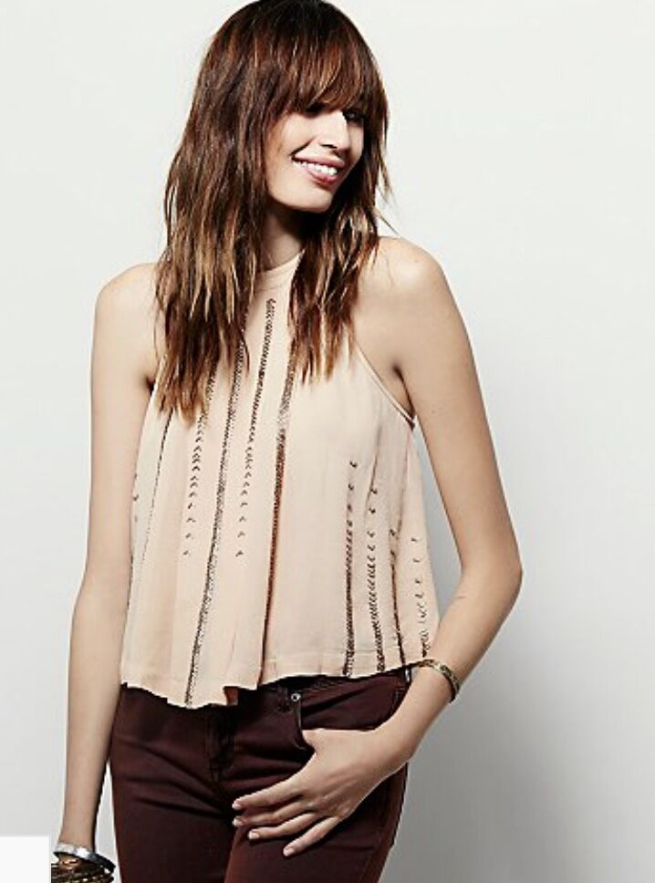 NEW Free People nude Blaush Rosa Swing Shimmer & Shine Beaded Halter Top XS