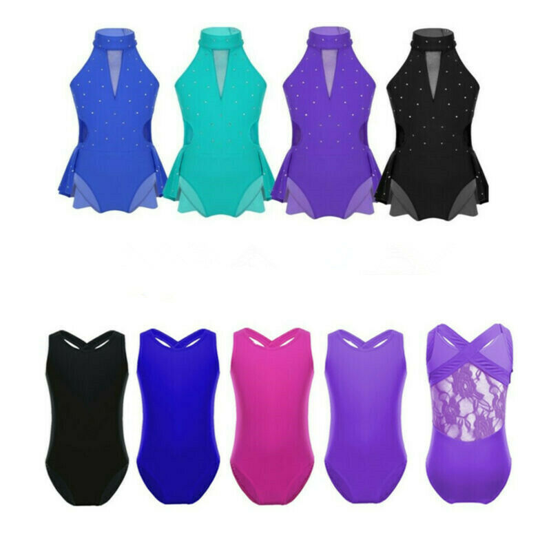 Girls Kids Ballet Leotard Gymnastics Athletic Unitard Dress Dancewear Costume