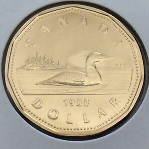 1988 Canada 1 One Dollar Loonie Canadian Brilliant Uncirculated Coin G539