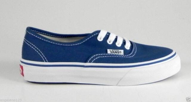 688cc0c6460ff8 Vans Authentic Youths Children Kids Boys Girls Navy Bluve White Canvas Shoes