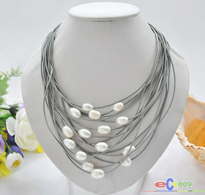 "D0010 15row 20"" 13mm rice FRESHWATER pearl leather necklace magnet clasp"