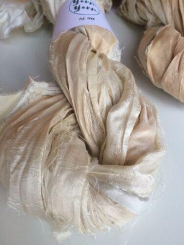 Sari de seda lazo Reino Unido. 5 yarda Mini blanco marfil fuera de Seda Pura Cinta Reciclado