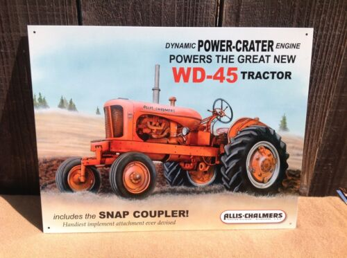 ALLIS CHALMERS POWER CRATER WD 45 Tractor Tin Metal Sign Wall Garage Classic