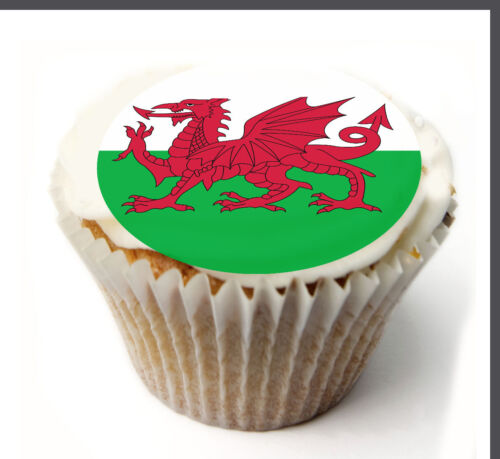 icing sheet.800 Edible Cupcake Toppers x20 Welsh Flag Toppers-wafer sheet