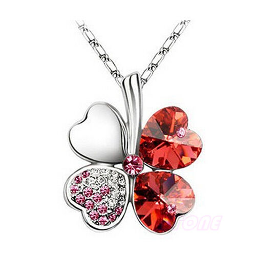Fashion Women Charm Crystal Heart Lucky Four Leaf Clover Pendant Chain Necklace