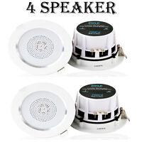 Lot Of (4) Pyle Pdic4 4'' Ceiling, Wall Speakers, 2-way Aluminum Frame Speaker