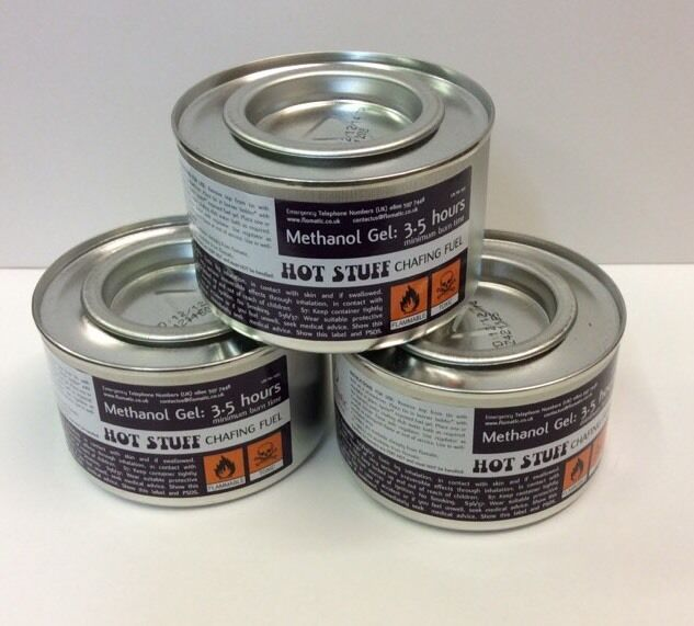 NEW 6 CHAFING DISH FUEL GEL CANS 2.5 HOUR BURN TIME EACH CATERERS CHAFING TINS