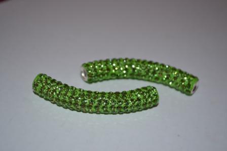 1x Shamballa Rhinestone Crystal Pave Disco curved Tube Beads HIGH quality UK