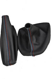 Shift Boot and E Brake Boot Set Vinyl Leather For BMW E46 99-04 M3 Style Stitch
