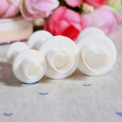 New 3 Pcs Love Heart Sugar Sugarcraft Plunger Cutter DIY Cake Cookie Tool Mold