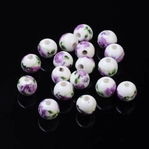 4pcs Violet 10 mm Céramique Perles Trou Taille 2.5 mm