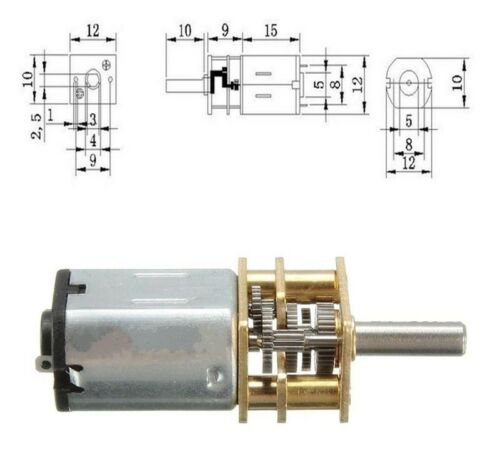 N20 DC3V 300RPM Motor Engranaje Motor Eléctrico Gear Box alto esfuerzo de torsión