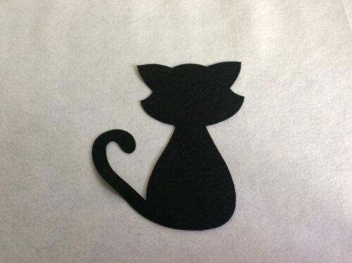 Fieltro Gatos Extra Grande Negro x4 con apliques coser de elaboración de Tarjetas artesanal Formas de Fieltro